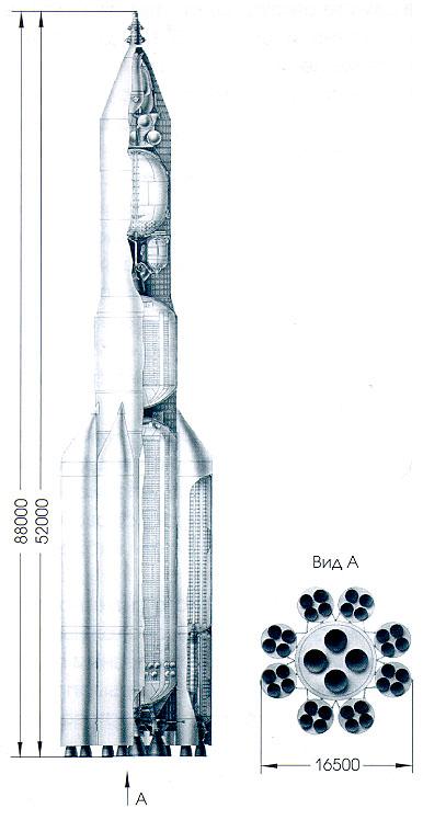 Кстати - вот ракета, которая после закрытия проекта Н-1 реально должна была доставить на Луну советских космонавтов.